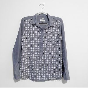 LOFT | S | button down chambray eyelet lace front